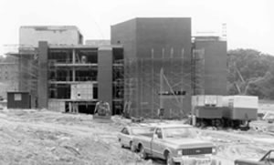 Library construction in June 1972