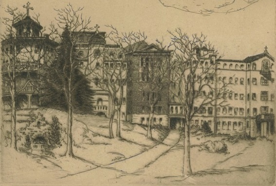 Drawing of Mount Saint Agnes College, late 1800s-early 1900s