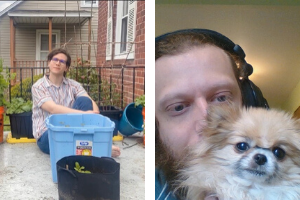 Two images, on the left side a library staff member sitting in front of bins. On the right side, a library staff member and his dog.