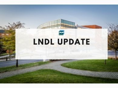 Photograph of the library building with text that states LNDL Update
