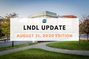 Picture of Library building with text that states LNDL Update August 31, 2020 Edition